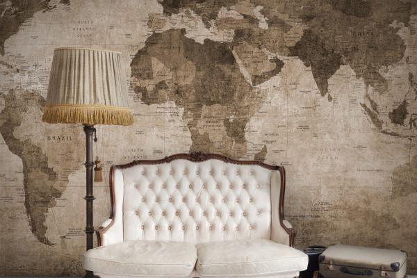 printed digital wallpaper world map