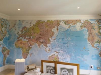 World Map digital printed wallpaper