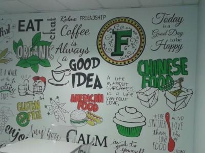 Restaurant custom printed wallpaper