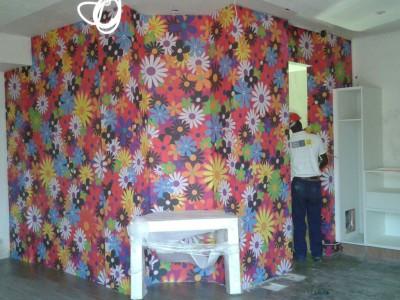 Custom flower printed digital wallpaper