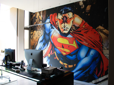 residental home office printed wallpaper cartoon superman design