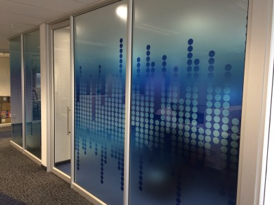 Blue printed glass decals for office