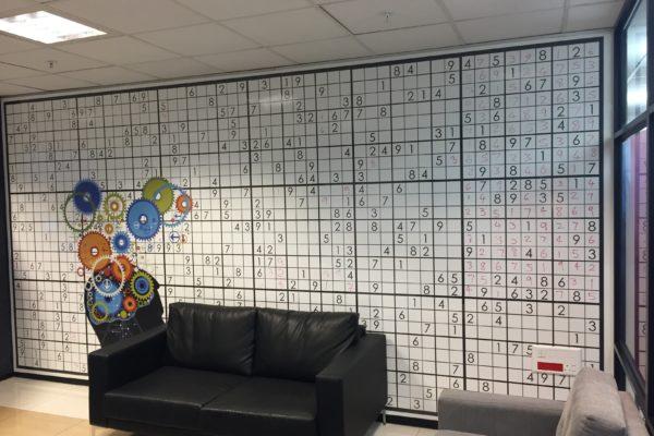 Writable whiteboard custom sudoku wall