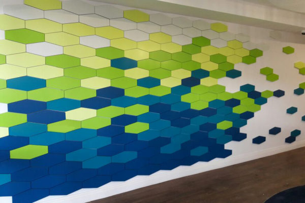 a multi-coloured, inter-locking tile installation at the Water Research Commission